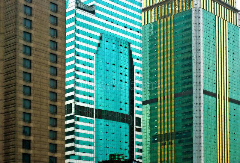 Highrises in urban center on a rainy day stock photo