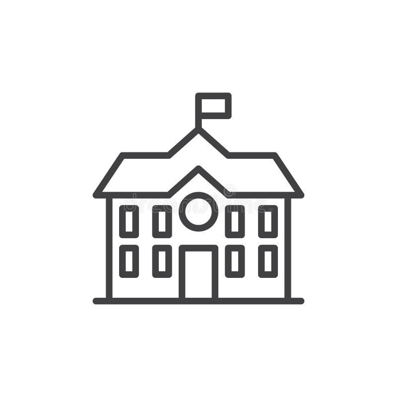 Highschool Baulinie Ikone lizenzfreie abbildung