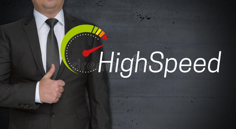 Highspeed concept and businessman with thumbs up.  royalty free stock image