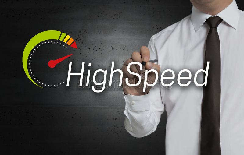 Highspeed is written by businessman on screen.  stock images