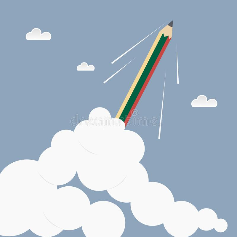 Hight power pencil in cloud on sky .Education stock illustration