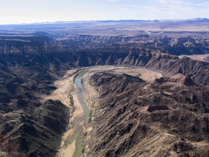 High view of natural reserve named Fish River Canyon in Namibia. Africa. The Fish River Canyon park in Namibia`s South has the Namibia longest river 160 km, 550 royalty free stock photo