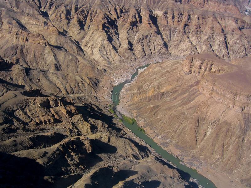 High view of natural reserve named Fish River Canyon in Namibia. Africa. The Fish River Canyon park in Namibia`s South has the Namibia longest river 160 km, 550 stock image