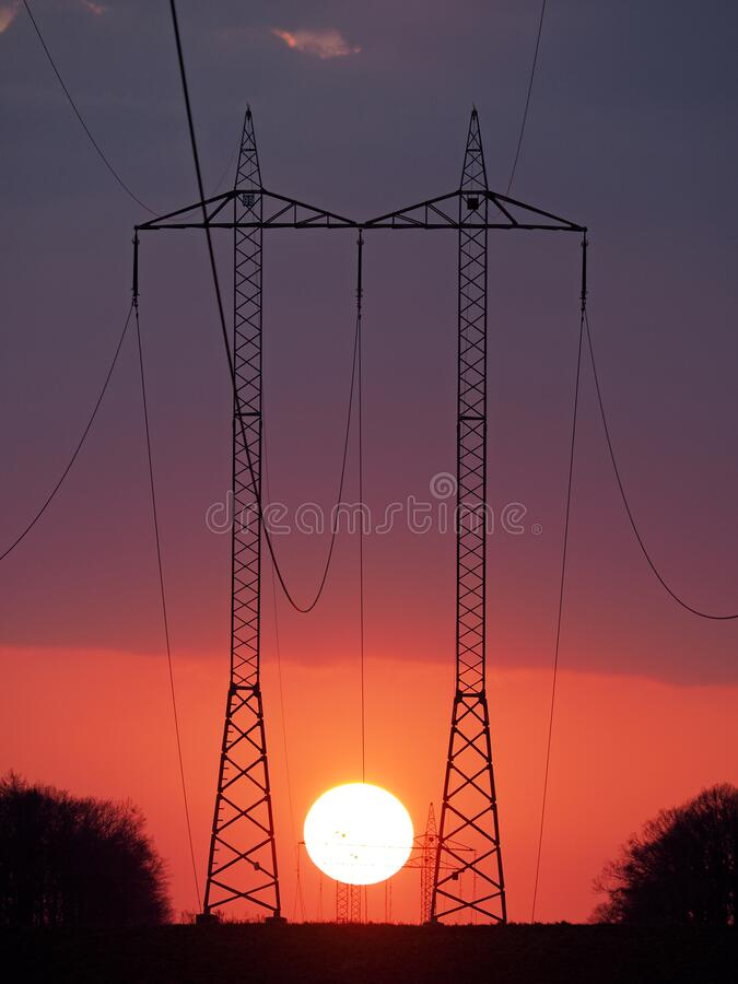 Hight-voltage wires stock photography