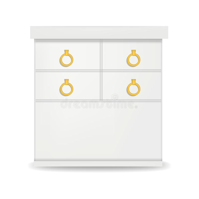 Hight white drawer mockup, realistic style. Hight white drawer mockup. Realistic illustration of hight white drawer vector mockup for web design isolated on vector illustration