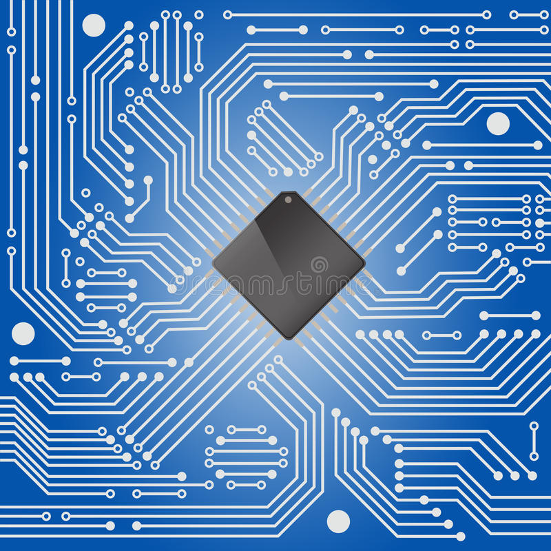 Hightech- Brett der elektronischen Schaltung auf blauem Hintergrund vektor abbildung