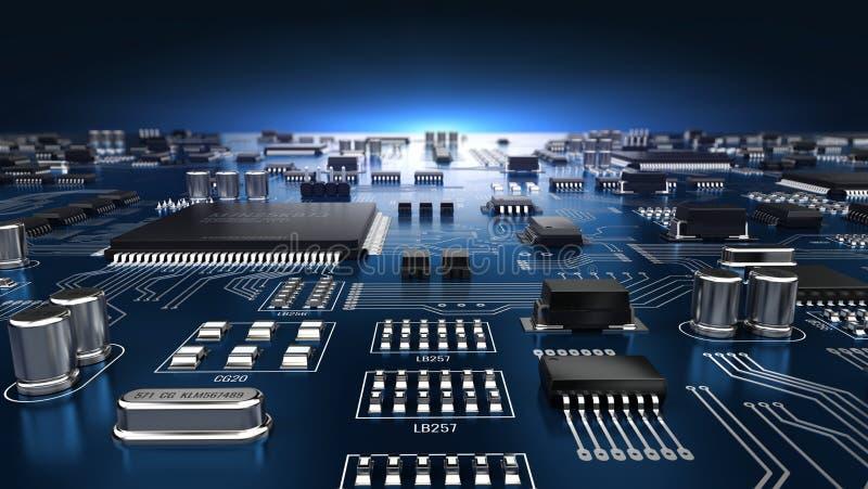 Hightech- elektronische PWB-Leiterplatte mit Prozessor und Mikrochips vektor abbildung