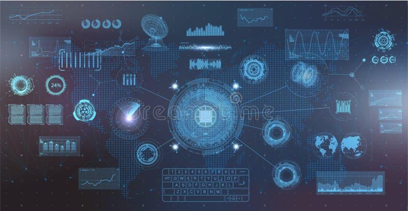 Hightech- Elementsatz, Art HUDs UI lizenzfreie abbildung