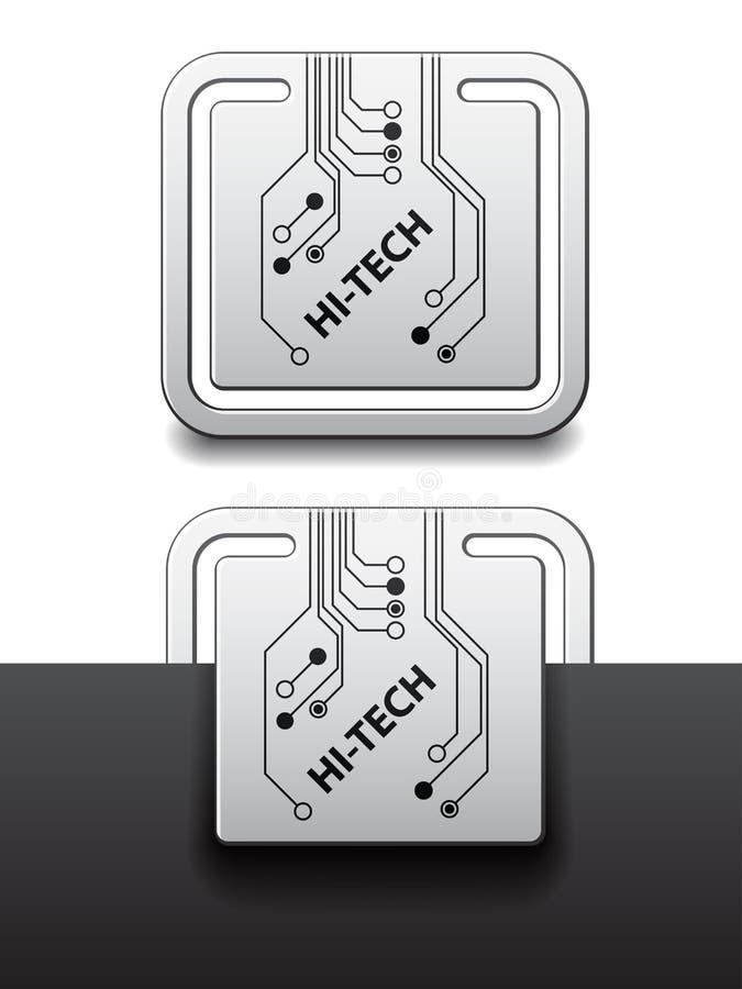 Hightech- quadratische Leiterplatte brachte Kennsätze an vektor abbildung