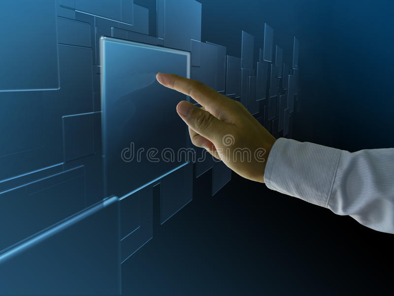 Hightech touch. Enter the screen stock images