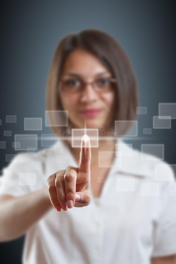 Hightech- Typ des Geschäftsfrau-Stoßes stockbilder