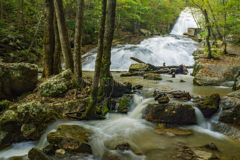 Rocky View of Roaring Run Waterfall royalty free stock images