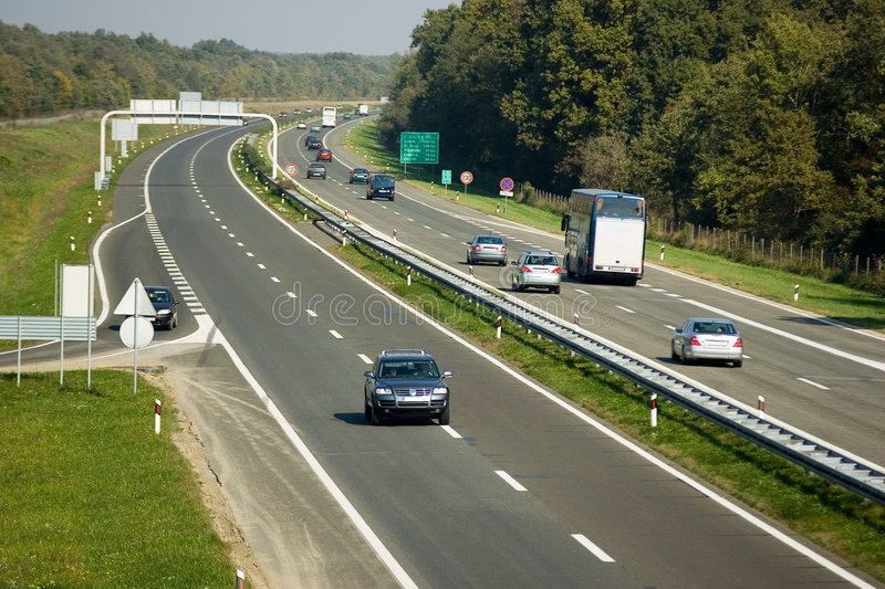 Highway. A highway with traffic on one side stock photography