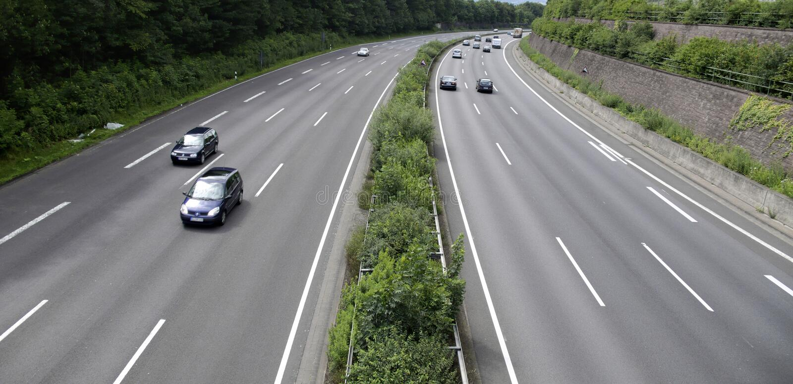 Highway. / Autobahn going into a curve stock photo
