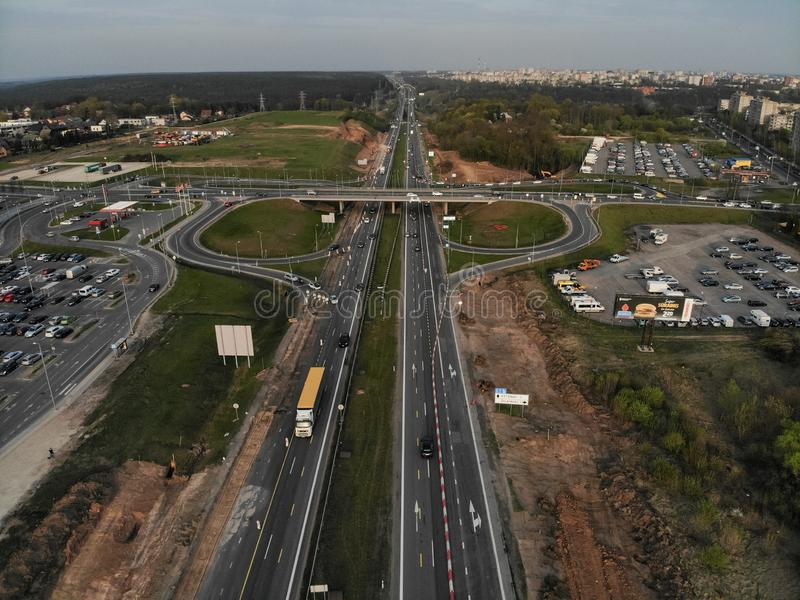 A1 highway aerial view in Silainiai, Kaunas, Lithuania stock photography