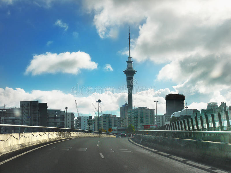 Highway Auckland, Sky Tower, New Zealand royalty free stock photography