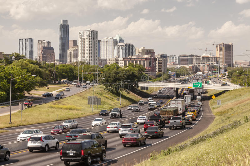 Highway in Austin, Texas. AUSTIN, TX, USA - APR 11: Heavy traffic on the highway near Austin City. April 11, 2016 in Austin, Texas, United States stock photography