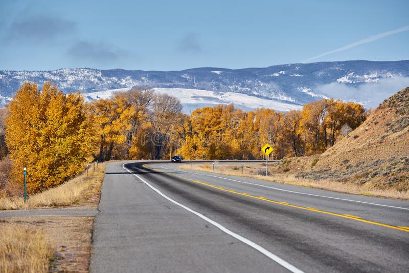 Highway at autumn in Colorado, USA. Highway in Colorado at autumn, USA stock image