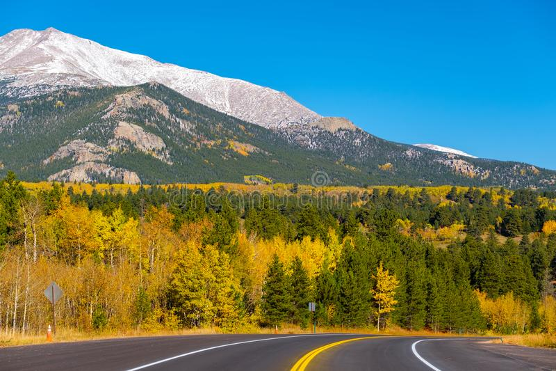 Highway at autumn in Colorado, USA. Highway at autumn sunny day in Colorado, USA stock photography
