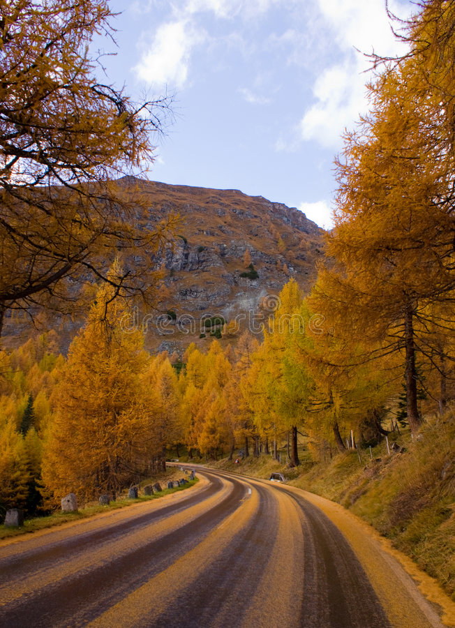 Highway through autumn forest. Highway receding into distance through autumn forest, Grossglockner mountain, Austria stock photography