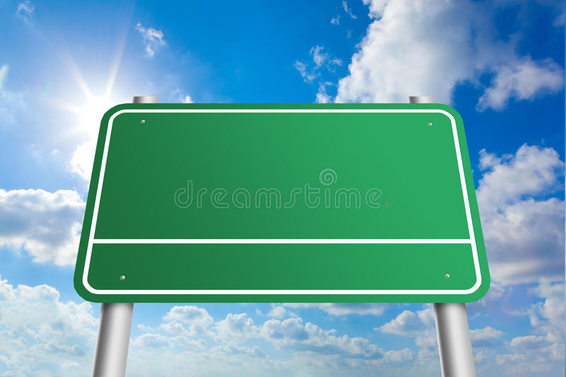 Highway blank sign. On sunny blue sky background royalty free stock photo