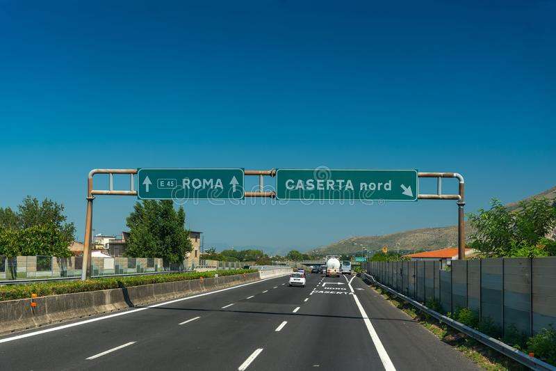 Highway with blue sky near Roma and Caserta, Italy. Highway with blue sky near Roma and Caserta in Italy stock images