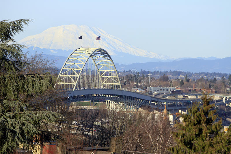 Highway Bridge Over Willamette River royalty free stock image
