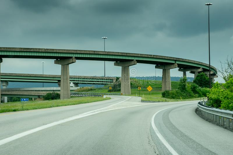 Highway Bridges and Ramps. The bridges and ramps on a main highway under a stormy sky stock photos