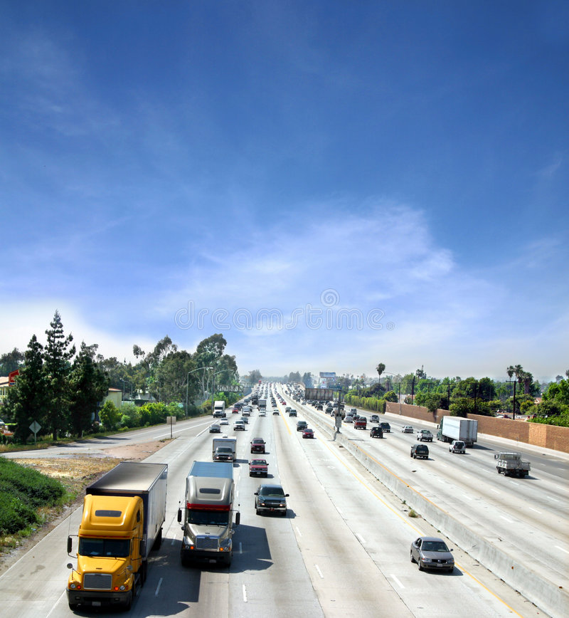 Highway in California. Cars and trucks commuting on a busy highway in California stock photo