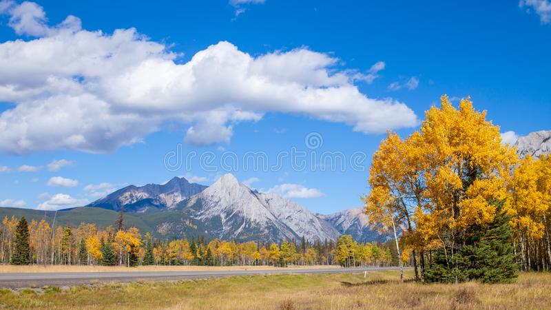 A highway through the Canadian Rocky Mountains in Kananaskis, Alberta during the peak of autumn colors stock photos