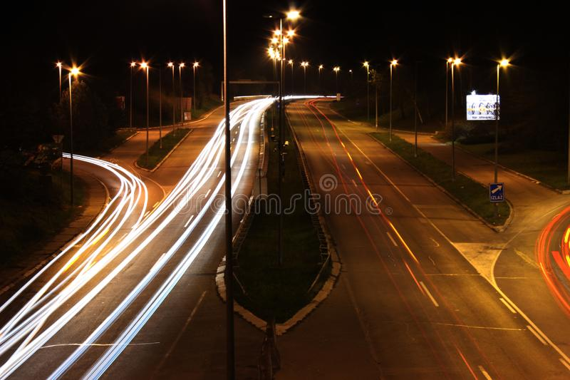 Highway cars lights stock photography