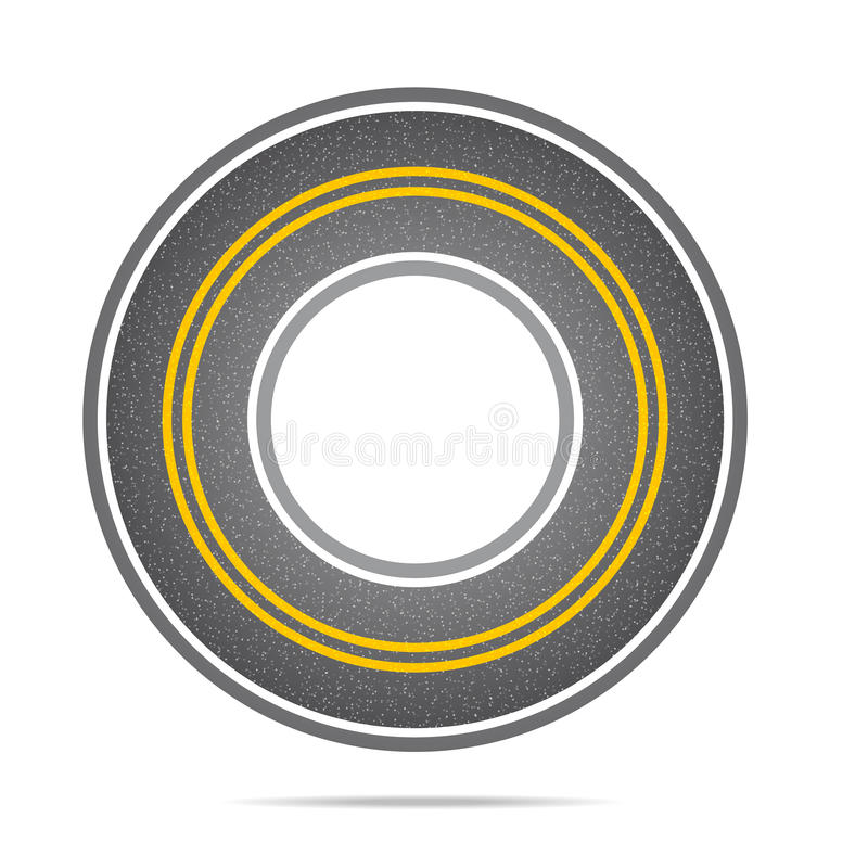 Highway in a circle with asphalt texture. With noise. Vector illustration stock illustration