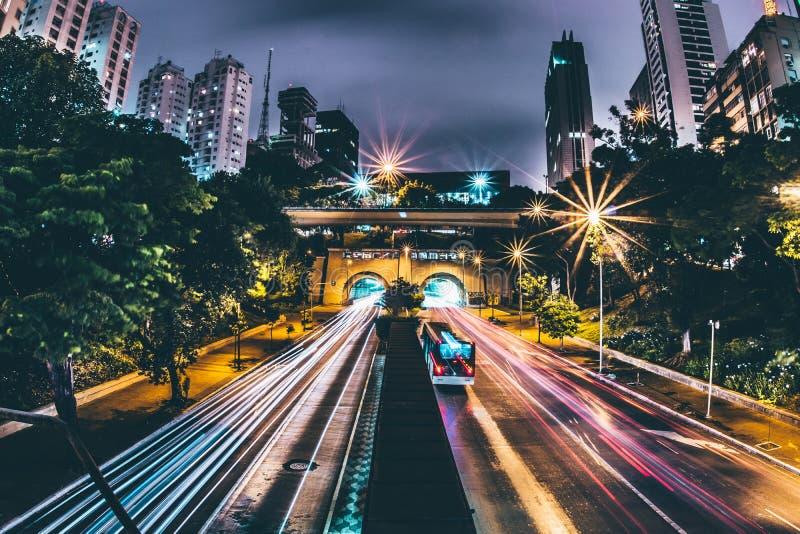 Highway through city at night royalty free stock photos