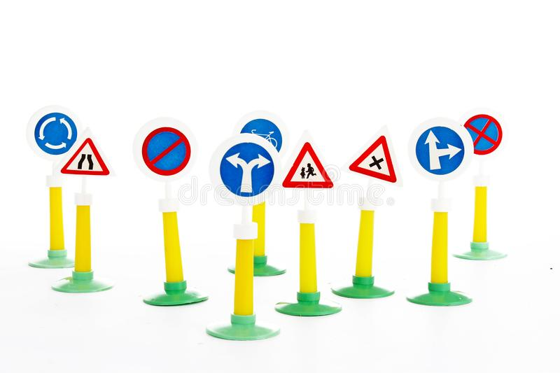 The Highway Code, road safety and vehicle rules driving law road sign toys. royalty free stock image