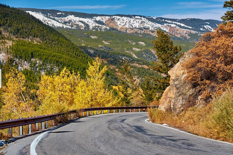 Highway at autumn in Colorado, USA. Highway in Colorado at autumn, USA royalty free stock photos