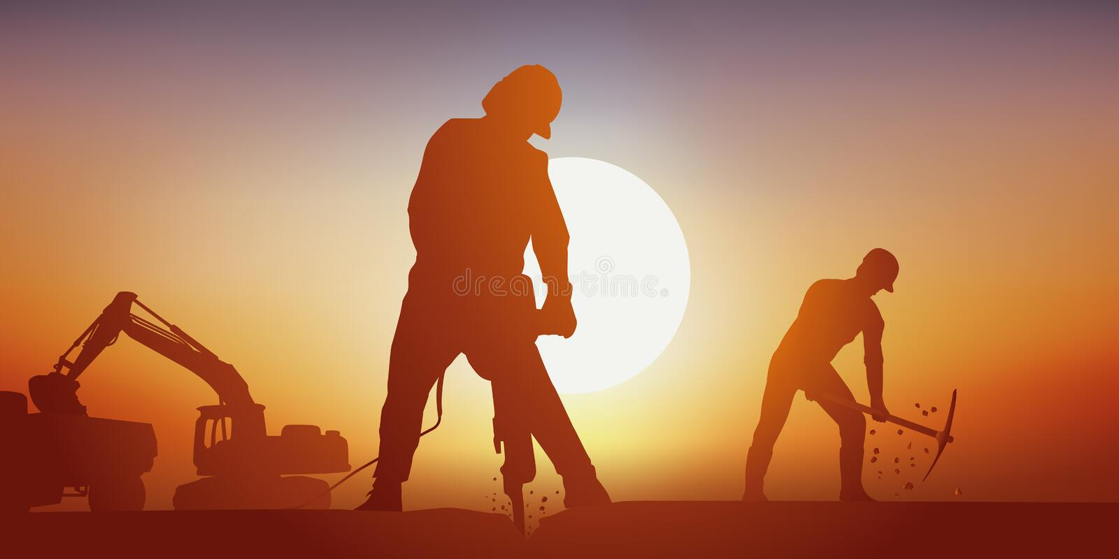 A highway construction site with men working hard in the heat. Public worksmen are working with a jackhammer and a pickaxe at the construction of a road. In the royalty free illustration