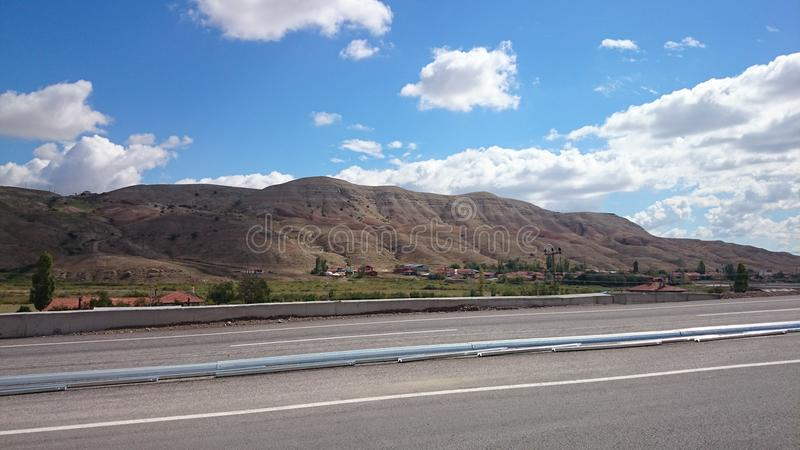 Highway construction suny day. In suny day highway construction royalty free stock images
