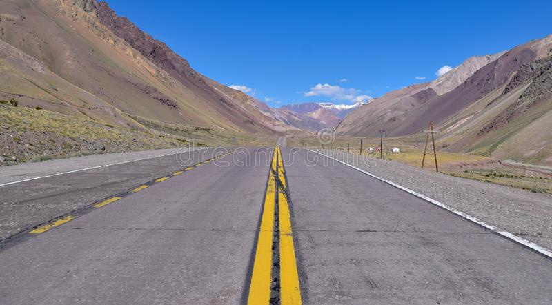 Mountain road in the andes. stock image