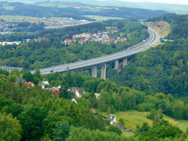 Highway D1 Velke Mezirici. 145 km, bridge Vysocina stock images
