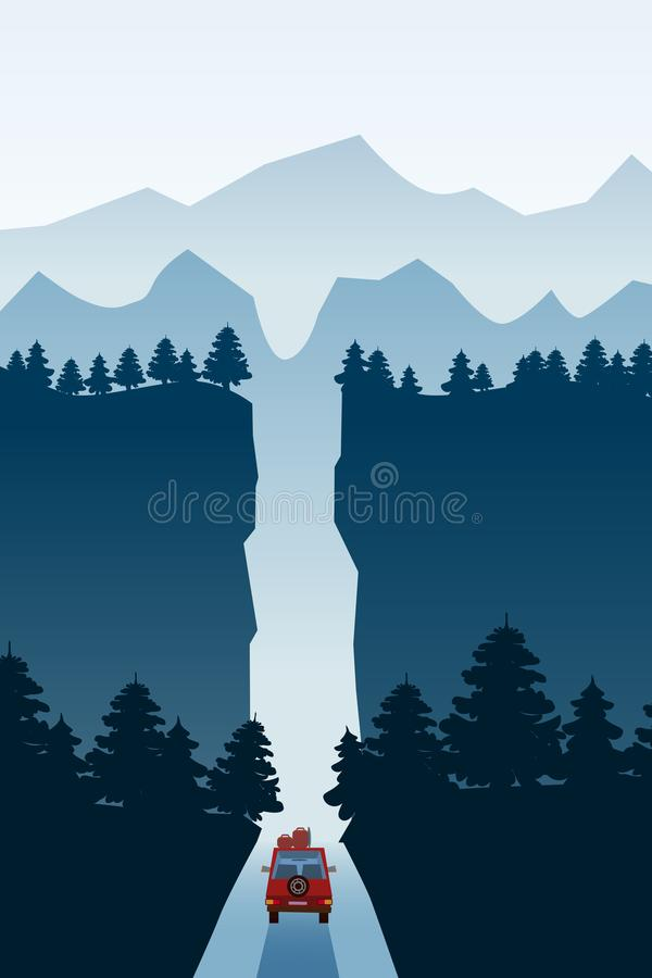 Highway drive with beautiful mountain spruce forest landscape, road through the canyon. Highway drive adventure travel. Highway drive with beautiful spruce stock illustration