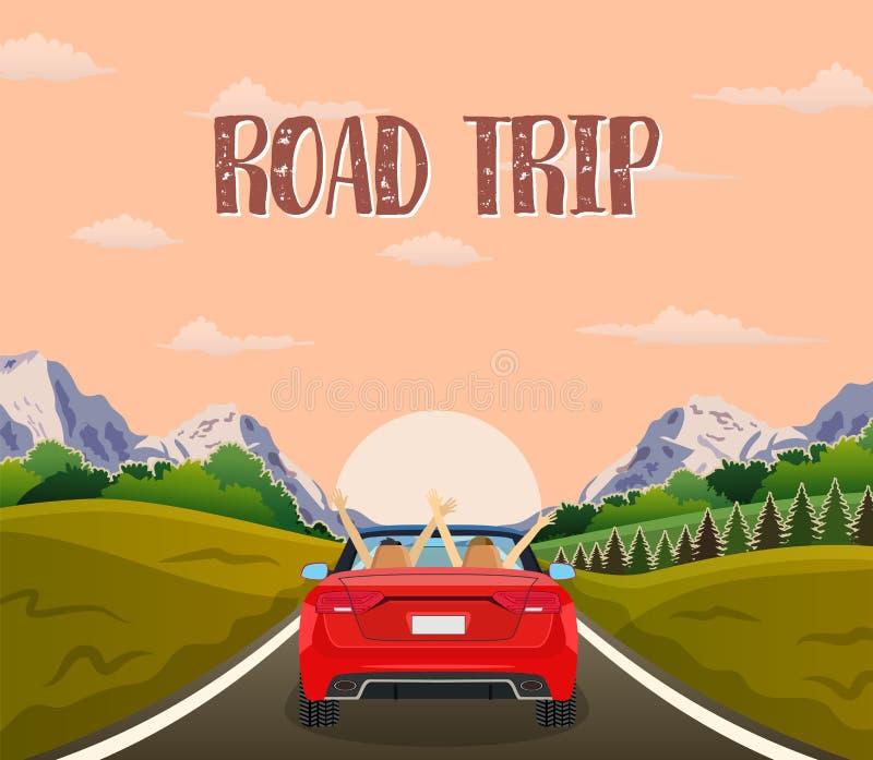 Highway drive with beautiful sunrise landscape. stock illustration