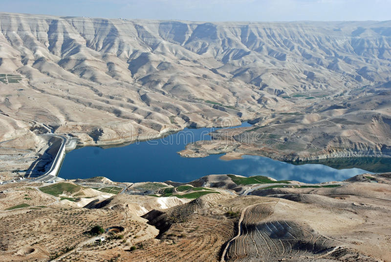 Highway du Roi, Wadi Mujib, réservoir, Jordanie photos libres de droits