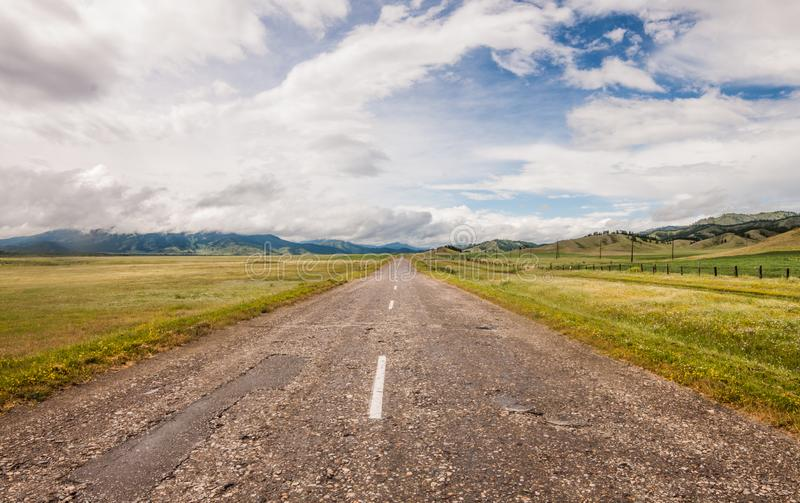 The highway extends stock images