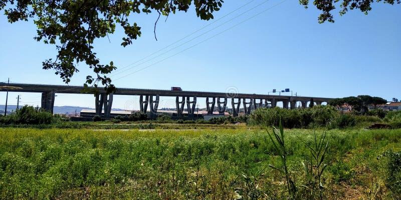 Landscape of A5 CREL Highway Bridge, Loures, Portugal. Highway in Fields in Loures, Lisbon, Portugal stock images