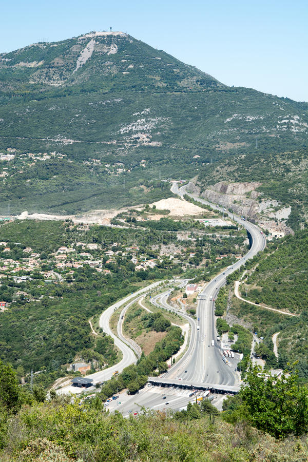 Highway in France. Highway near Nice, France. Picture taken from Grand Corniche Natural Park stock images