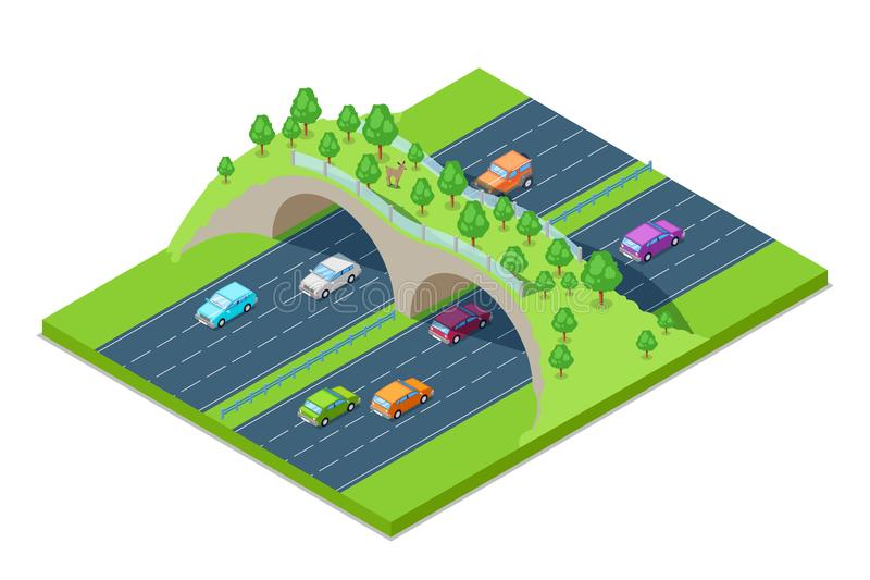 Highway and green bridge for animals above the road. Vector isometric 3D illustration. Save environment and ecology stock illustration