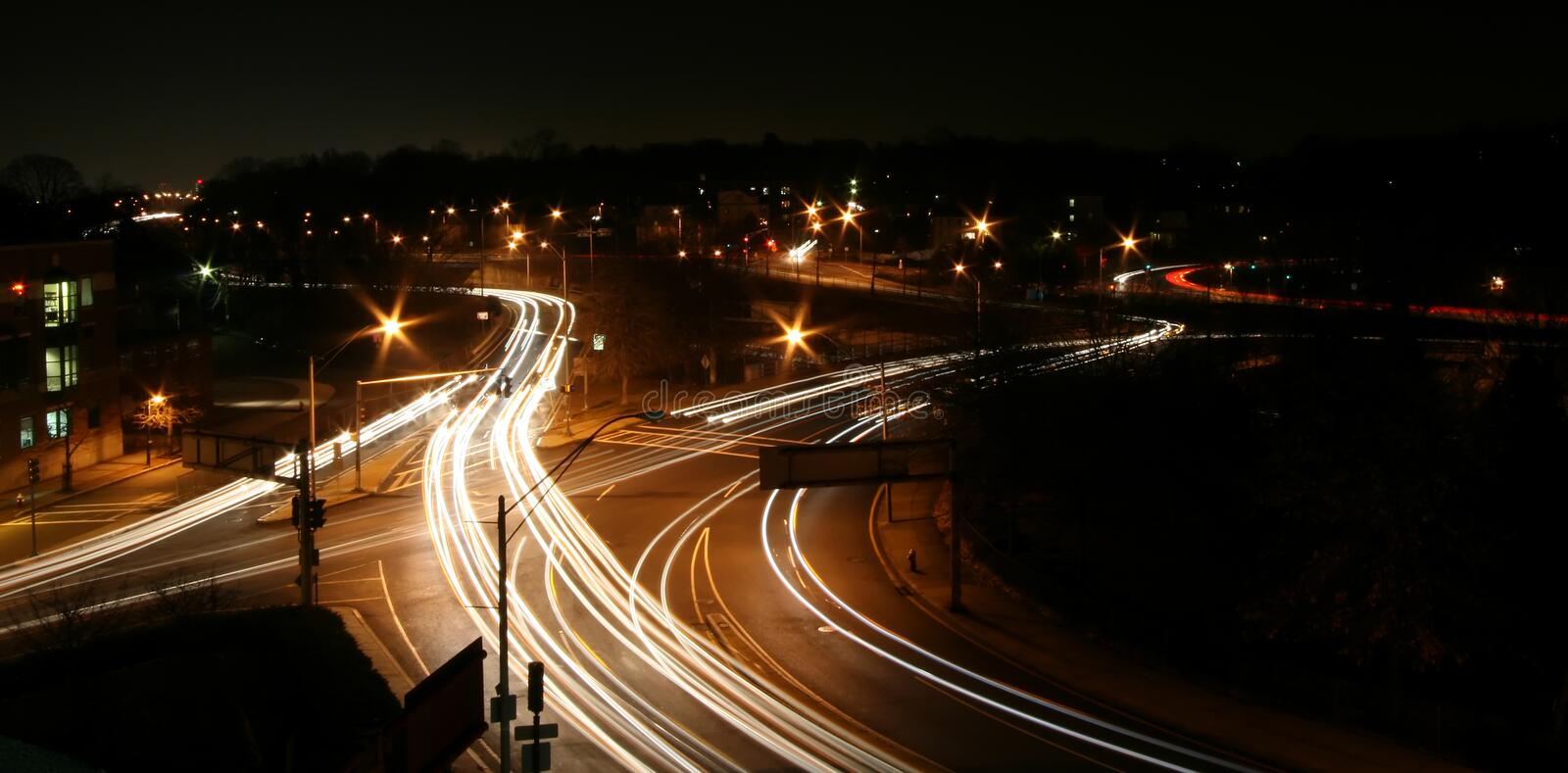 Download Highway Intersection At Night Stock Image - Image of speed, lights: 1669545