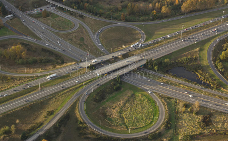 Highway Intersection at Rush Hour stock photography