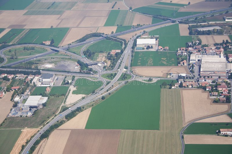 Highway intersection Voghera. Aerial view of a highway intersection Voghera stock photos
