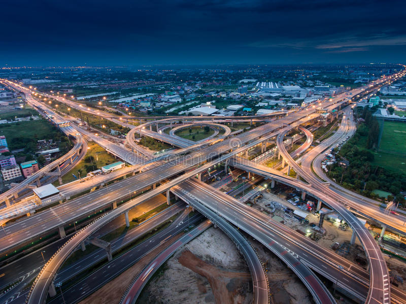 Highway junction from aerial view royalty free stock images